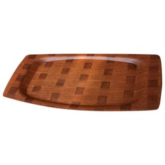 Checkered Serving Tray in Teak by Silva, Denmark, 1970s