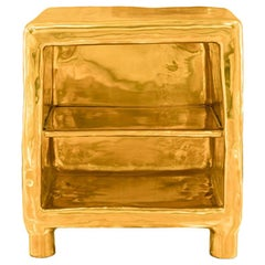 Cheer Bedside Table, Glossy Finished Brass Storage Unit Scarlet Splendour