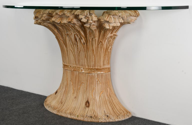 Glass Chelini Hand Carved Wheat Sheaf Console, 20th Century For Sale