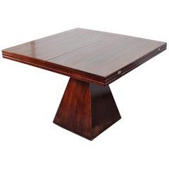 """Chelsea"", Vittorio Introini for Saporiti Brown Wood Geometric Table Italy 1960"