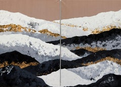 Roof of the World (Diptych) - 21st Century, Contemporary, Painting, Gold Leaf