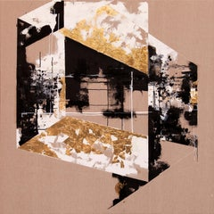 Absence II - 21st Cent, Contemporary, Abstract Painting, Oil and Gold Leaf
