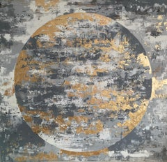 April Moon - 21st Century, Contemporary, Abstract Painting, Gold Leaf