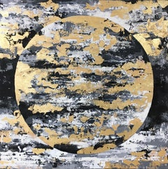 Black And Gold Moon - 21st Century, Contemporary, Painting, Gold Leaf, Moon