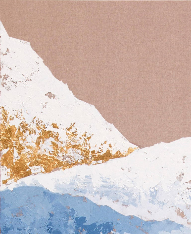 Blue Mountains - 21st Century, Contemporary, Figurative Oil Painting, Gold Leaf For Sale 2