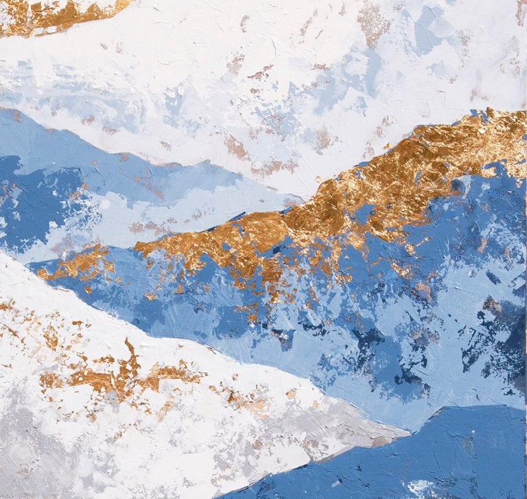 Blue Mountains - 21st Century, Contemporary, Figurative Oil Painting, Gold Leaf For Sale 3