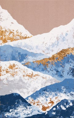 Blue Mountains - 21st Century, Contemporary, Figurative Oil Painting, Gold Leaf