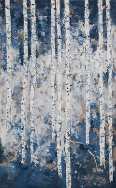 First Snowfall - 21st Century, Contemporary, Figurative Oil Painting, Gold Leaf
