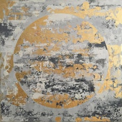 Gold Moon - 21st Century, Contemporary, Figurative-Abstract Painting, Gold Leaf