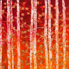 Golden Forest - 21st Century, Contemporary, Abstract Painting, Oil, Gold Leaf