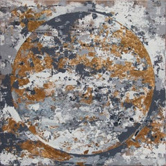 Grey & Gold Meridian - 21st Century, Contemporary, Abstract Painting, Gold Leaf