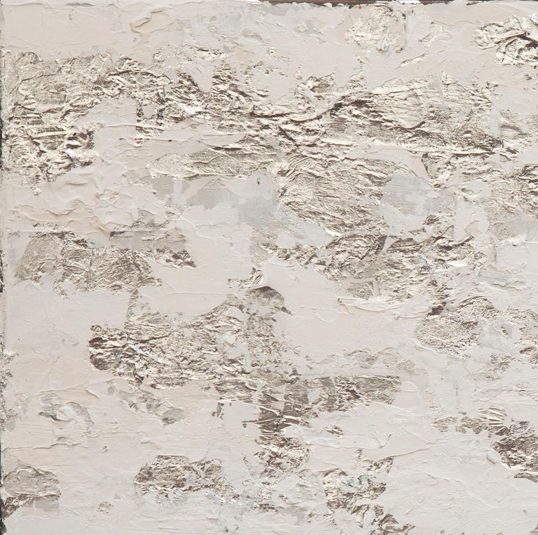 Diptych. Oil and silver leaf on steel.  For centuries, artisans and artists have turned to gold, silver and copper leaf as a way to make their creations shimmer and shine. Also many contemporary artists continue to use this material in their work,