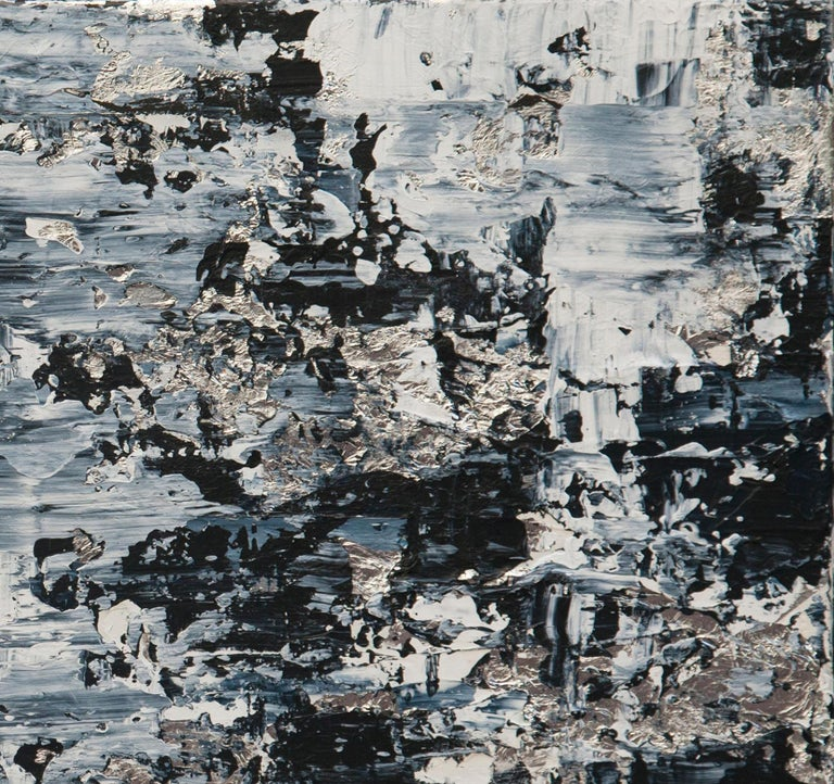 Horizon in Silver Steel - 21st Century, Contemporary, Abstract Painting, Silver For Sale 1