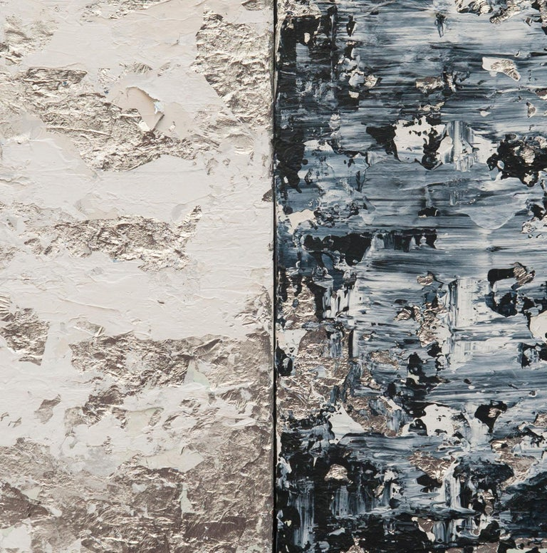 Horizon in Silver Steel - 21st Century, Contemporary, Abstract Painting, Silver For Sale 2