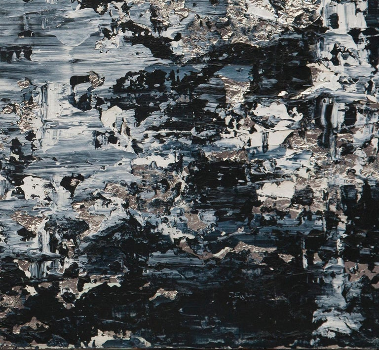 Horizon in Silver Steel - 21st Century, Contemporary, Abstract Painting, Silver For Sale 3