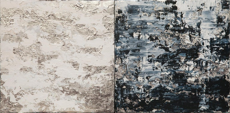 Horizon in Silver Steel - 21st Century, Contemporary, Abstract Painting, Silver - Mixed Media Art by Chelsea Davine