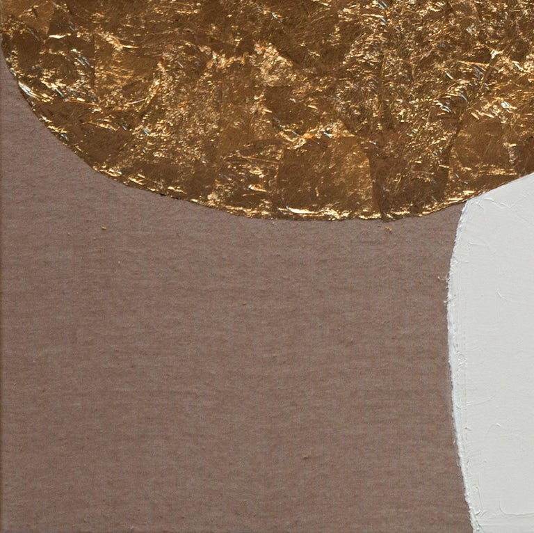Impar With Yellow - 21st Century, Contemporary, Abstract Painting, Gold Leaf For Sale 1