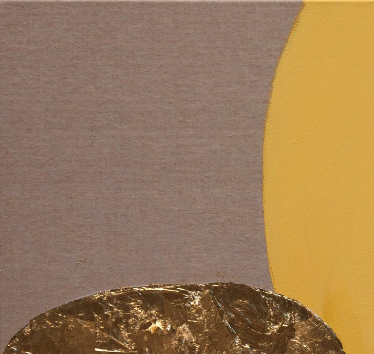 Impar With Yellow - 21st Century, Contemporary, Abstract Painting, Gold Leaf For Sale 2