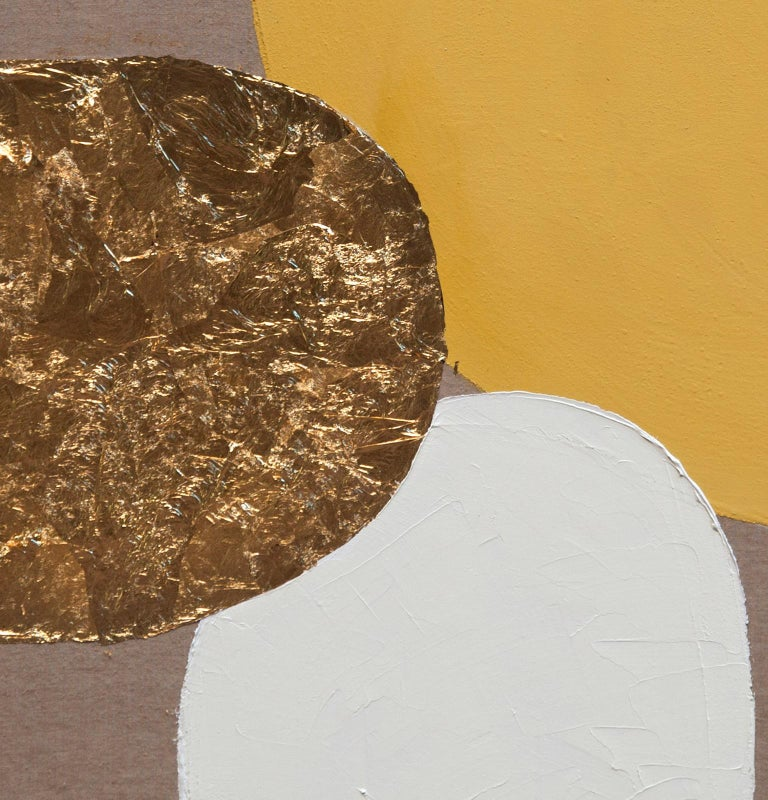 Impar With Yellow - 21st Century, Contemporary, Abstract Painting, Gold Leaf For Sale 5