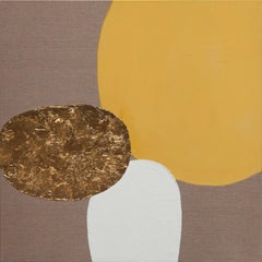 Impar With Yellow - 21st Century, Contemporary, Abstract Painting, Gold Leaf