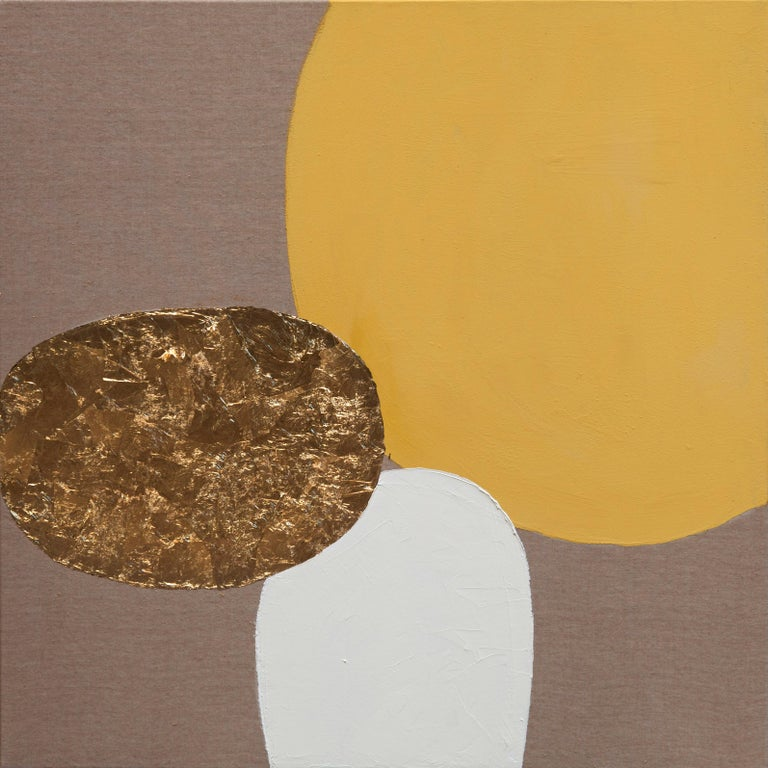 Oil and gold leaf on canvas  For centuries, artisans and artists have turned to gold leaf as a way to make their creations shimmer and shine. Also many contemporary artists continue to use gold leaf in their work, and so does Chelsea Davine, as you