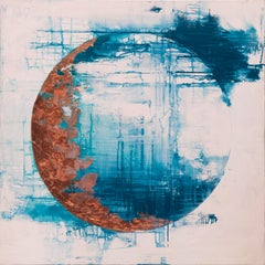 Luna creciente - 21st Century, Contemporary, Abstract Painting, Copper Leaf