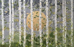 Pale Green Leaves - 21st Century, Contemporary, Figurative-Abstract Painting