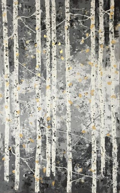 Pale Grey Woods - 21st Century, Contemporary, Painting, Gold Leaf, Forest