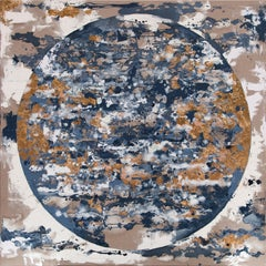 Pale Meridian With Gold - 21st Cent, Contemporary, Abstract Painting, Gold Leaf