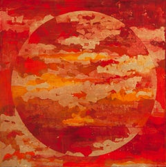 Spring Moon - 21st Century, Contemporary, Abstract Painting, Gold Leaf