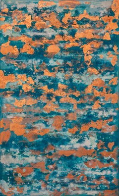 Summer Sea With Copper - 21st Cent, Contemporary, Abstract Painting, Copper Leaf
