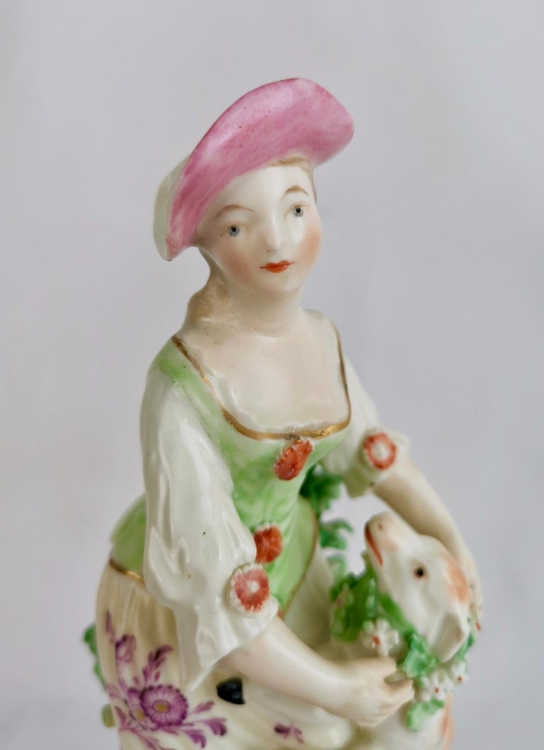 Derby Figure of Shepherdess with Garlanded Lamb, ca 1760 In Good Condition For Sale In London, GB