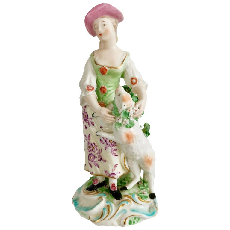 Derby Figure of Shepherdess with Garlanded Lamb, ca 1760 For Sale