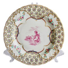 Chelsea-Derby Porcelain Plate, Puce Cherubs by Richard Askew, circa 1775