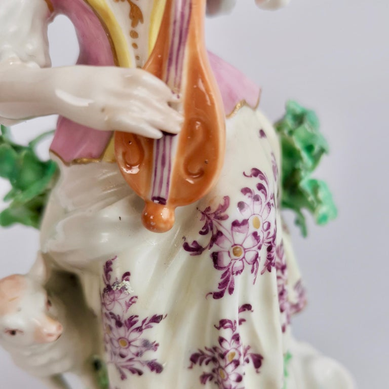 Chelsea-Derby Porcelain Figure of Lady with Lute, 18th Century, circa 1770 For Sale 7