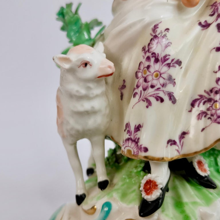 Chelsea-Derby Porcelain Figure of Lady with Lute, 18th Century, circa 1770 For Sale 8