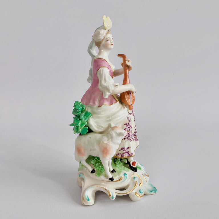 English Chelsea-Derby Porcelain Figure of Lady with Lute, 18th Century, circa 1770 For Sale