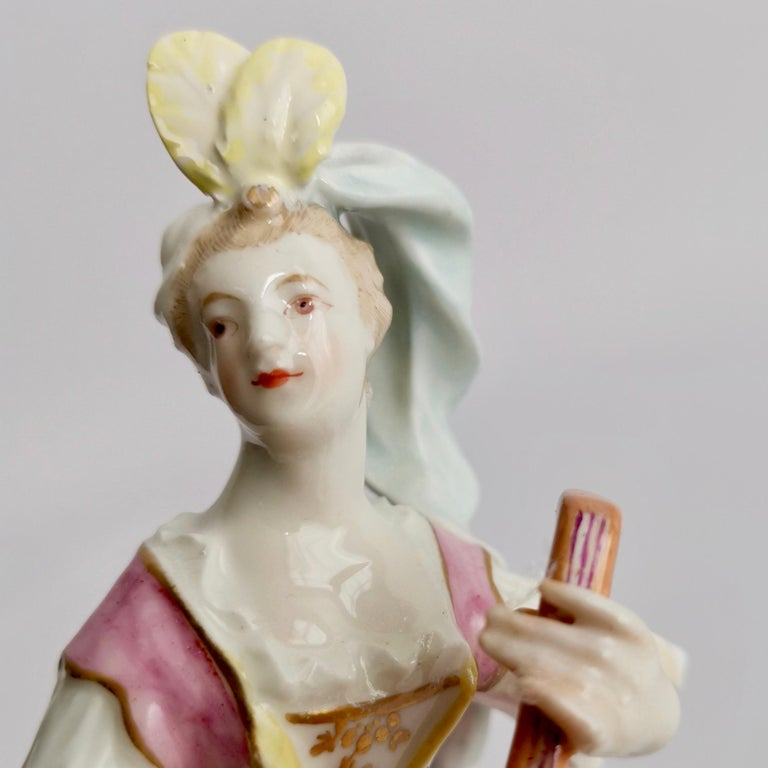 Late 18th Century Chelsea-Derby Porcelain Figure of Lady with Lute, 18th Century, circa 1770 For Sale