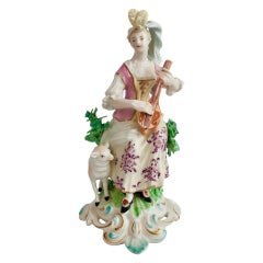 Chelsea-Derby Porcelain Figure of Lady with Lute, 18th Century, circa 1770