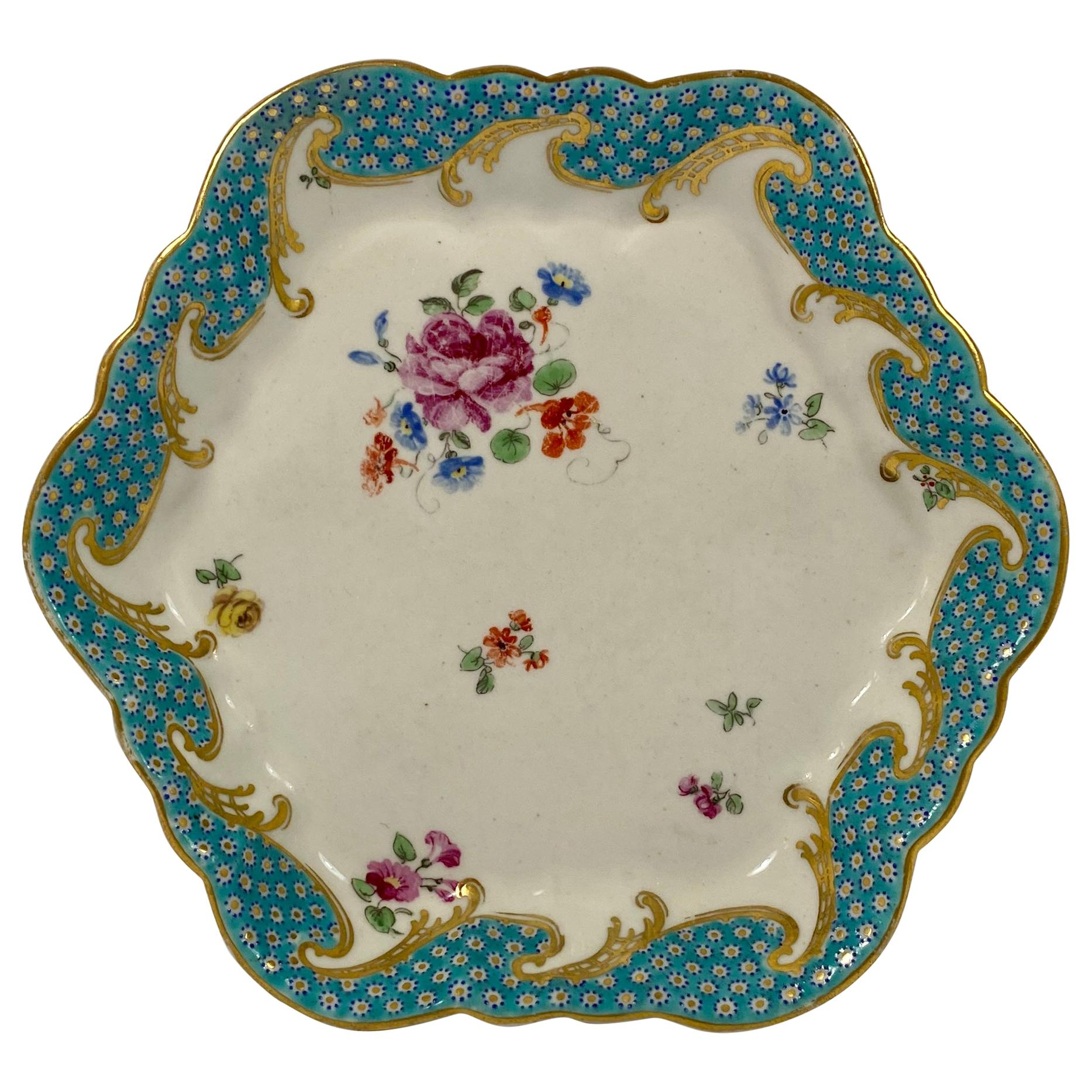 Chelsea Derby Porcelain Teapot Stand, in Sevres Style, circa 1775