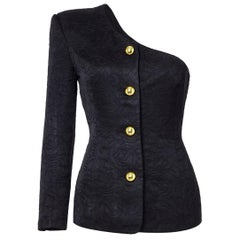 Chelsea Design Co. Asymmetrical Black Jacket With Gold Buttons, 1980s