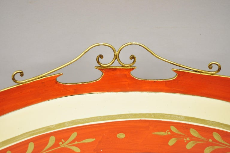 Chelsea House Italian Classical Red Gold Tole Metal Serving Tray Coffee Table In Good Condition In Philadelphia, PA