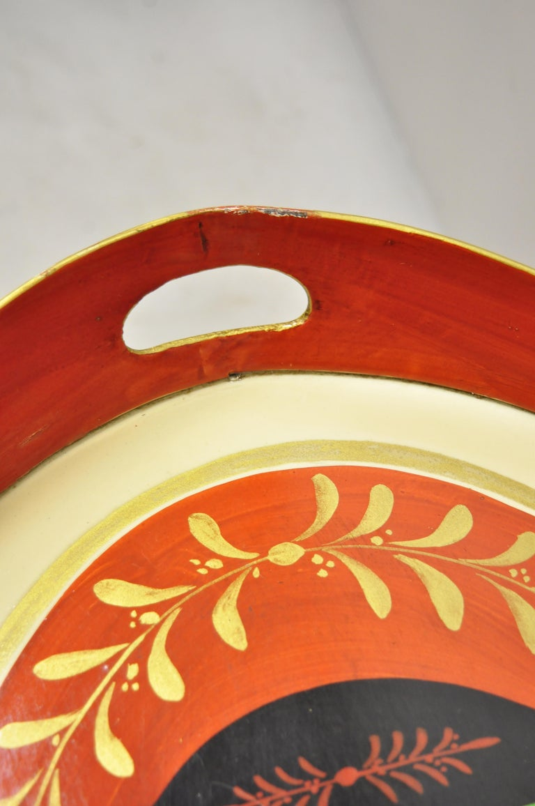 Chelsea House Italian Classical Red Gold Tole Metal Serving Tray Coffee Table 1