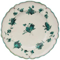 Chelsea James Giles En Camaieu Green Floral Painted Porcelain Plate
