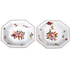 Chelsea Porcelain Dishes with Unusual Vegetable Decoration after Meissen