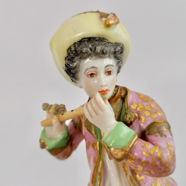 Edmé Samson Porcelain Figure of Piper, Rococo Chelsea style, 19th Century For Sale 1