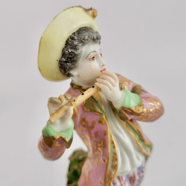 Edmé Samson Porcelain Figure of Piper, Rococo Chelsea style, 19th Century For Sale 3