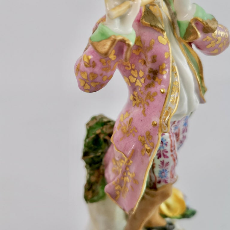 Edmé Samson Porcelain Figure of Piper, Rococo Chelsea style, 19th Century For Sale 4