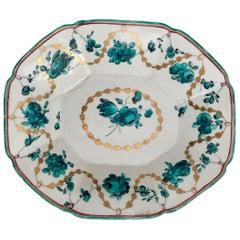 Chelsea Porcelain Octagonal Dish, Teal Flowers J Giles, Puce Anchor, 1753-1758