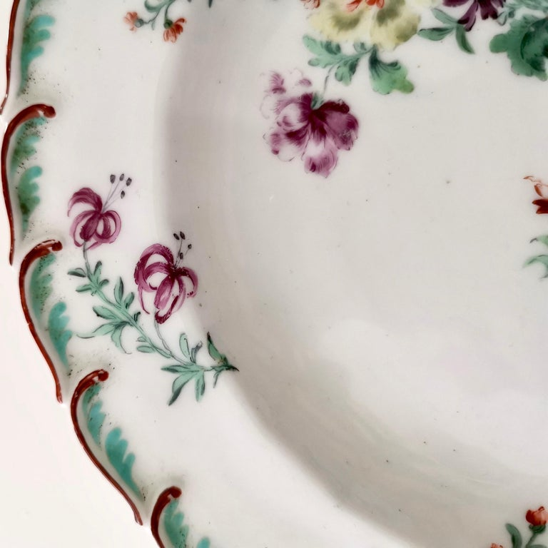 George II Chelsea Porcelain Plate, Hand Painted Flowers, Red Anchor, 18th Century For Sale